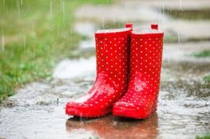 Red gumboots in rain